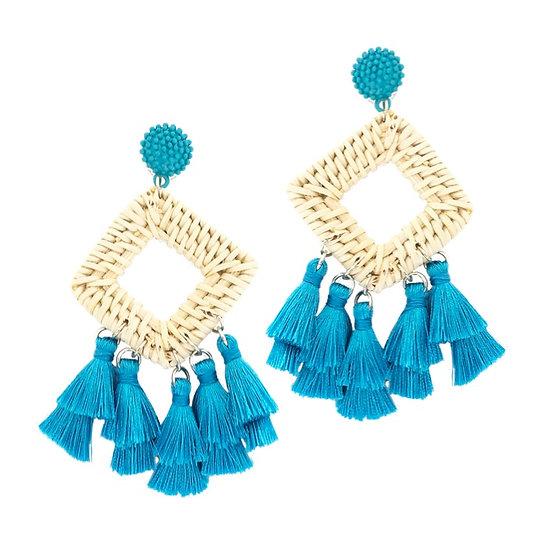 Rafia Tassle Earrings Aqua