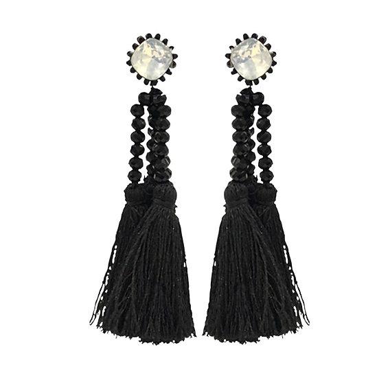 Multi Tassle  Earrings Black