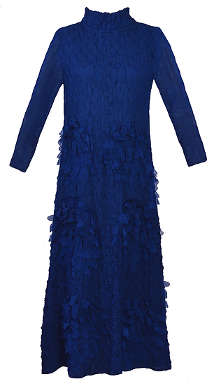 Feather Dress Long Blue