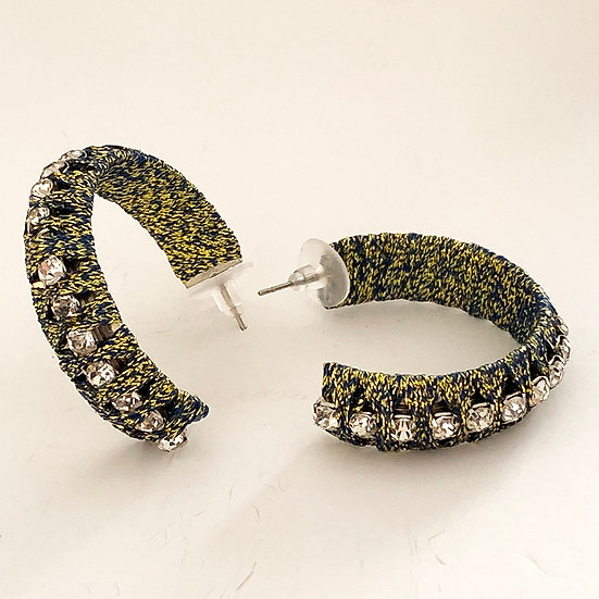 Diamanté Cord Hoops Sage