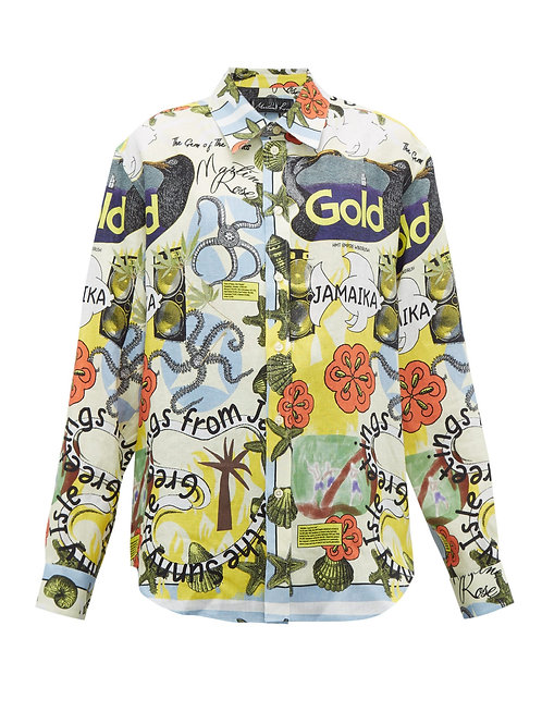 Jamaica-print linen shirt