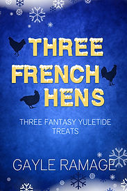 Blue background with snowflakes and frost at edges. Silhouettes of three hens.