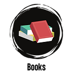 Black circle with vector image of three books in a pile.