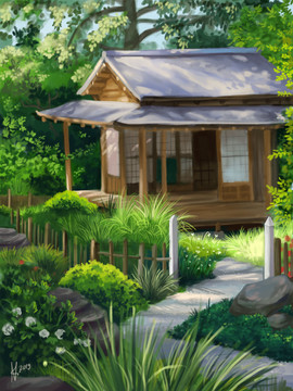 Study of a japanese tearoom and garden