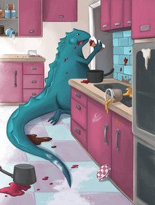 Monster making a Snack