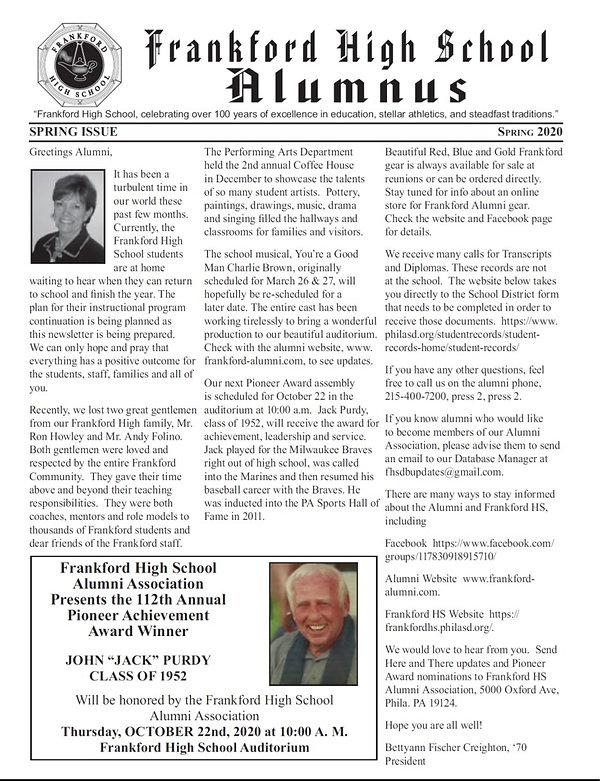SPRING 2020 ALUMNI NEWSLETTER 5-1-2020.j