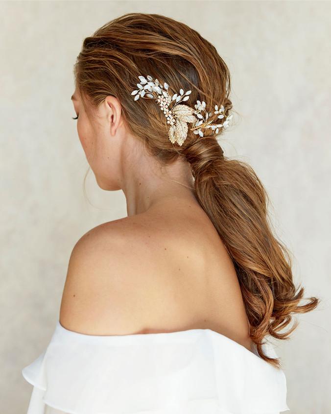low bridal ponytail