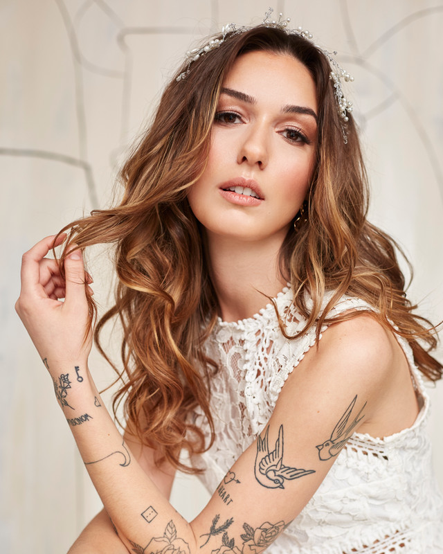 Wavy bridal hair and hairpiece