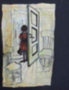 Girl in the doorway.Acrylics on canvas.3