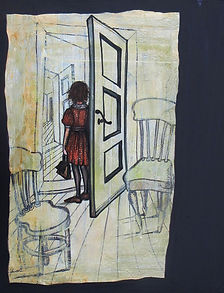 Girl in the doorway.Acrylics on canvas.3