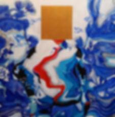 LAM # 3. 100cm x 100cm. Acrylic, gold le