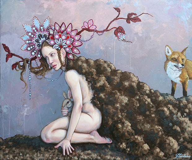 Lisa Lach-Nielsen. The Protector. Akryl på lærred. 100x120 cm.