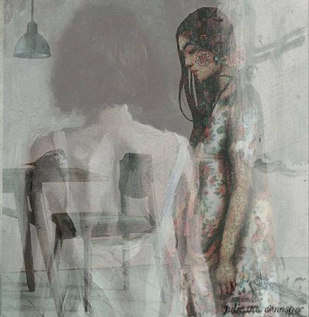 Julie Vivre Masque. No titel. Fotografi/collage. 40x40 cm.