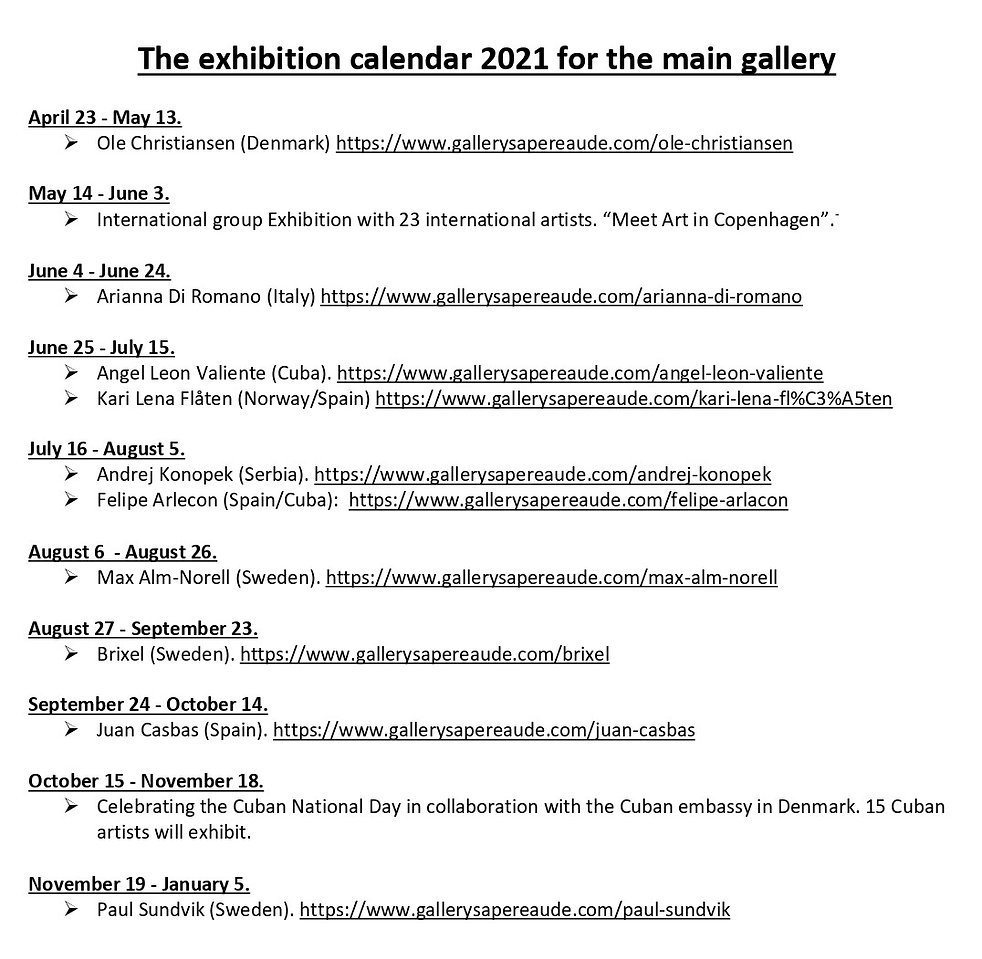 BESKÅRET The exhibition calendar 2021 fo