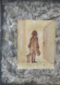 Alice Snerle Lassen. The Departure. Acryl på lærred og mixed media. 50x60 cm.