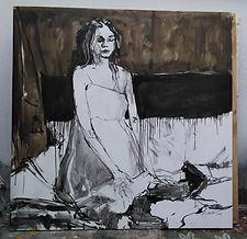 En la cama_130 x 130 cm_mixta lienzo_201