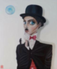 Yuliya Solodka. Chaplingirl. Akryl på lærred. 100x120 cm.