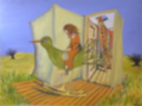 Alice Snerle Lassen. The Girl and the Paper House. Akryl på lærred. 80x60 cm.