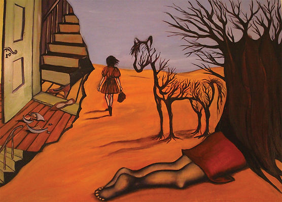Alice Snerle GIRL_ANDAlice Snerle Lassen. The Girl and the Horse Tree. Olie på lærred. 80x120 cm.