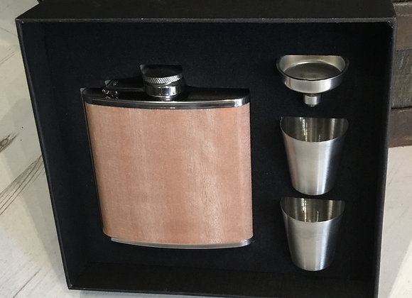 Wood Effect Hipflask Set