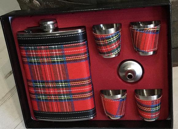 Scottish Tartan Hipflask Set
