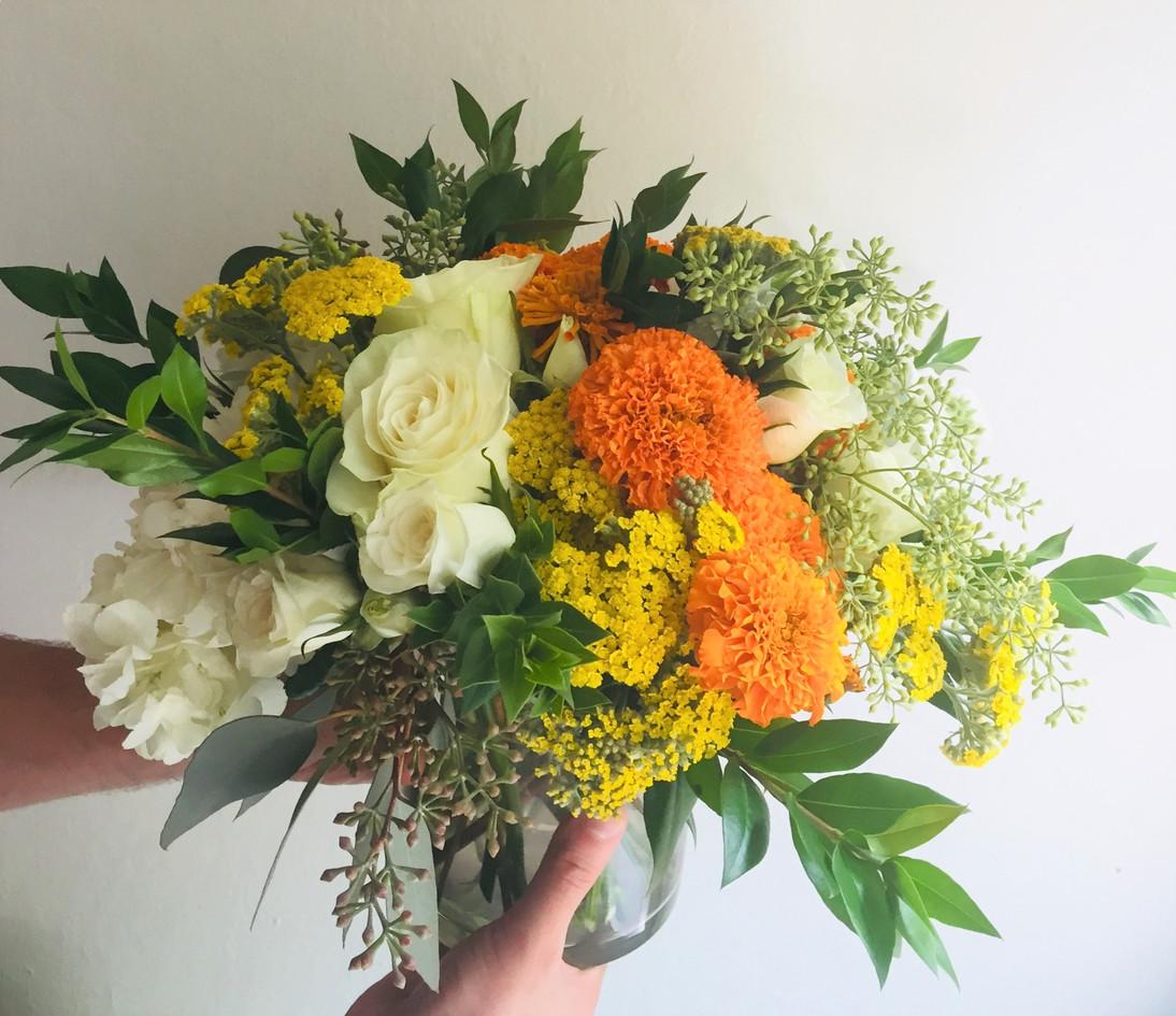 Warm colored flower arrangement