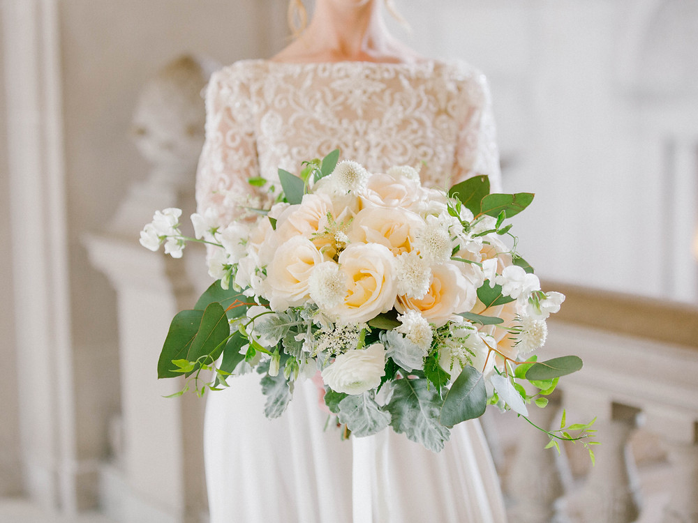 Ivory, White, and Green Bridal Bouquet at San Francisco City Hall