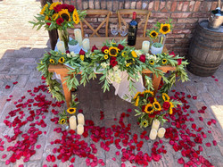 Sun Flower and red rose petal proposal at The Castle in Wine Country