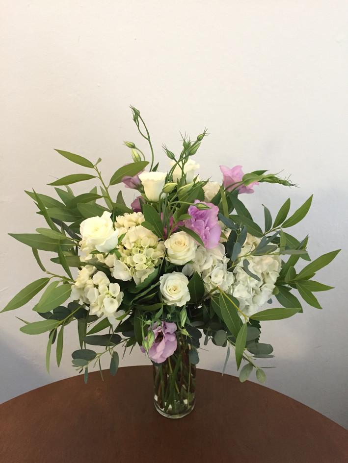 White, light purple, and greenery sympat