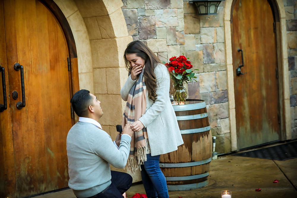Man down on one knee proposing to his girlfriend at Vezer Family Vineyard Cottage