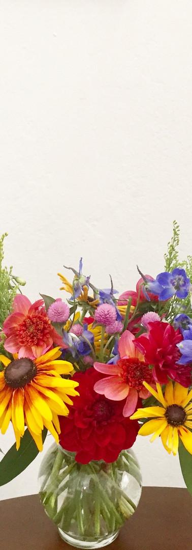 Colorful, late summer flower arrangement