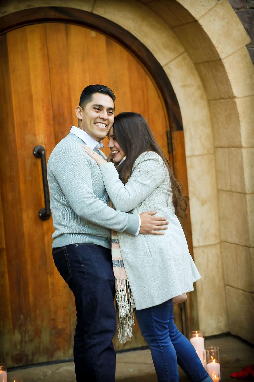 Happy newly engaged couple at Vezer Family Vineyard Cottage