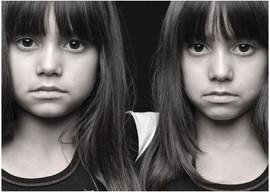 Portrait of twin girls