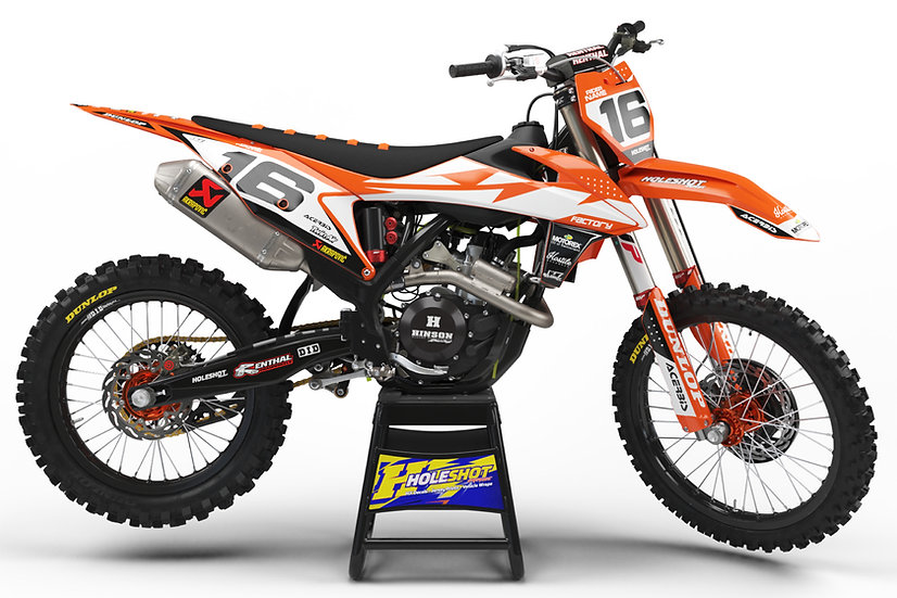 "KTM ""WORKS"" ORANGE/WHITE/BLACK KIT: $179.95 - $279.95"