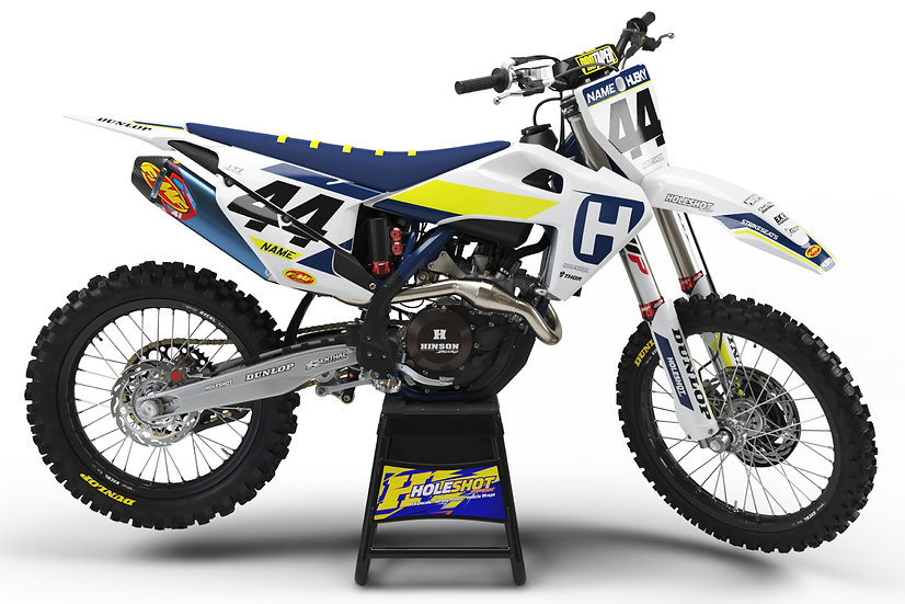"HUSQVARNA ""SLICE"" WHITE/BLUE/YELLOW KIT: $179.95 - $279.95"