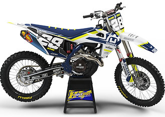 "HUSQVARNA ""SPOKE"" WHITE/BLUE/YELLOW KIT: $179.95 - $279.95"