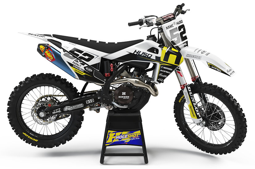 "HUSQVARNA ""AXEL"" WHITE/BLACK/YELLOW KIT: $179.95 - $279.95"