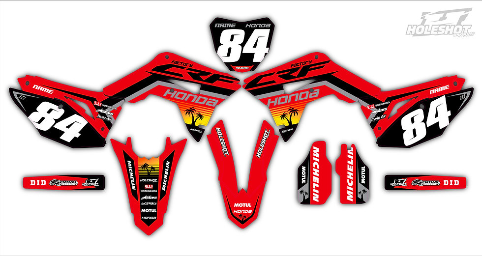 "HONDA ""PALM"" RED/BLACK/GREY KIT: $179.95 - $279.95"
