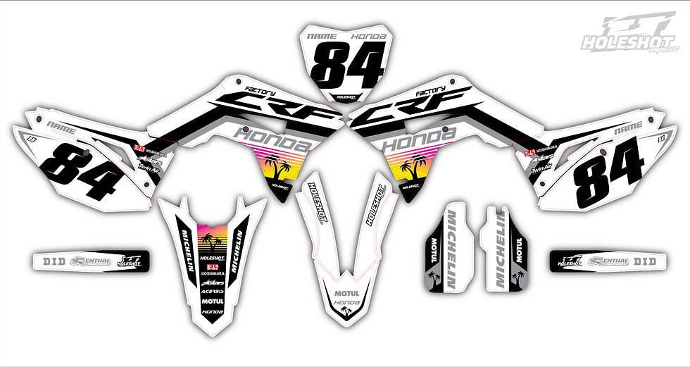"HONDA ""PALM"" WHITE/BLACK/GREY KIT: $179.95 - $279.95"