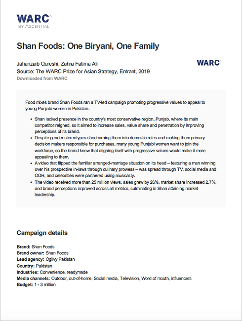 Screenshot of Shan Foods case study authored by Jay Qureshi
