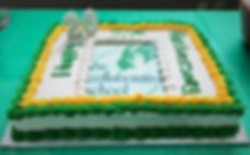 20th Anniversary Cake in Green and Gold