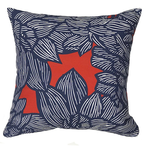 MADDY PILLOW 2 - NAVY ON RED