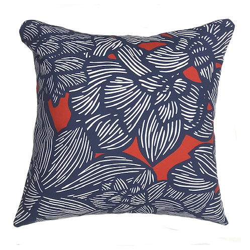 MADDY PILLOW 1 -NAVY ON RED