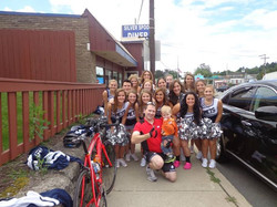 Ethan and I with the Abington cheerleaders outside the State St
