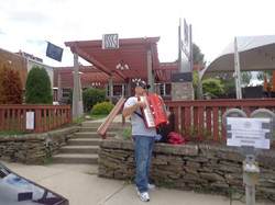 Jude playing some polka outside State Street Grill in Clarks Summit