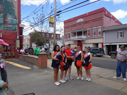 Ethan and I with the Cheerleaders of Keystone College
