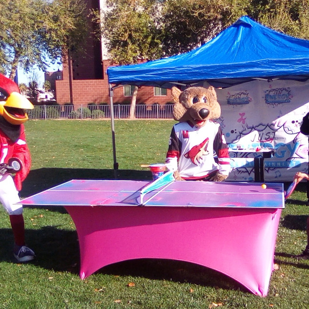 NFL Cardinals Mascot BIG RED, challanges birthday boy to ping pong as NHL Coyotes macscot Howler refs!