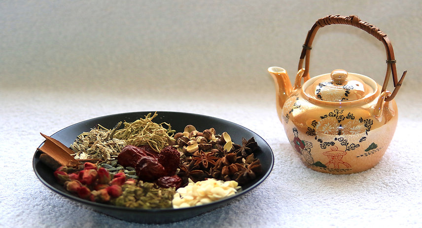 Bowl of Chinese herbs and herbal medicinal tea