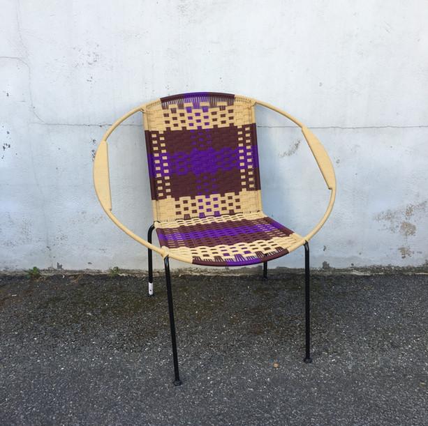 Beige / marron / violet