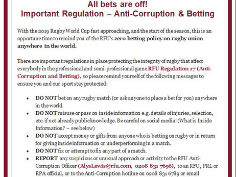 Anti-Corruption & Betting